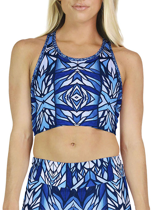 Blue Pattern Crop Top
